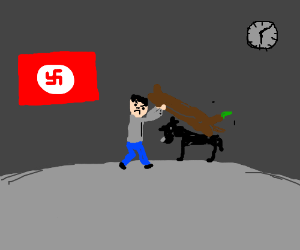Hitler smack a black dog with log.