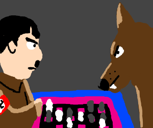 Hitler and a Dog play chess