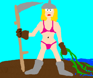 Bikini woman warrior with scythe and seaweed