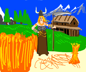 Female viking with scythe