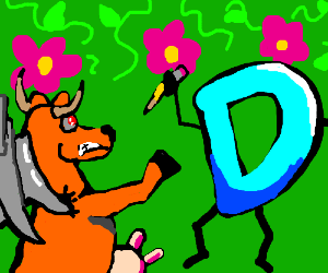 A CyberCow and Drawception fighting in garden.