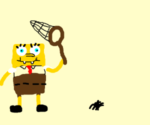 Sponge Bob chasing spiders with butterfly net