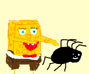 Spongebob trying to catch a spider