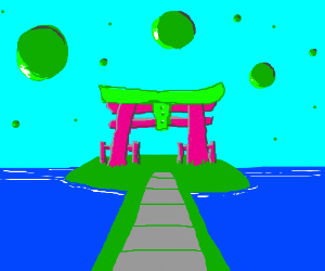 Pink shinto shrine with green balls