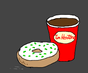 A Canadian doughnut with green sprinkles