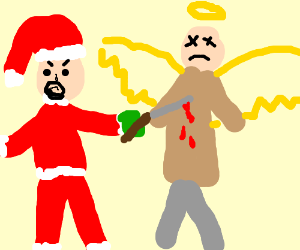 Evil Santa stabs Cas to hide his identity.