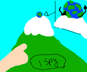 I spy a spinning globe atop a mountain peak.