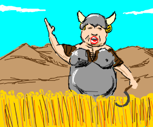 Viking opera singer harvests the wheat.