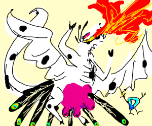 D draws fire breathing peacock cow