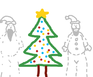 Christmas tree in middle of 2 INVISIBLE SANTAS