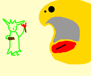 Pac-man eats the Statue of Liberty.