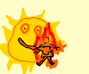 sun who is hugging a girl who is on fire