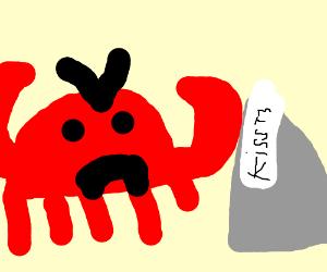 Crab gets angry at Hershey kiss.