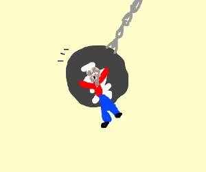 Poor old man glued to wreaking ball