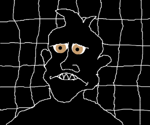 worried man in pitch black room with gridwall