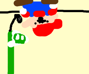 Upside-down man ask flag microphone for help