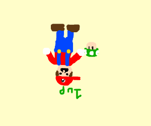 Upside down Mario gets 1 up