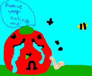 Sad tomato is being devoured by insects.