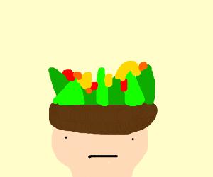 Fruit salad hat on guys head