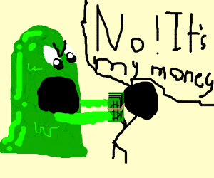 green monster tries to eat a guy's money