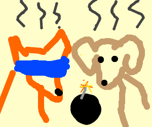 Smoking dog and fox with blindfold, and a bomb