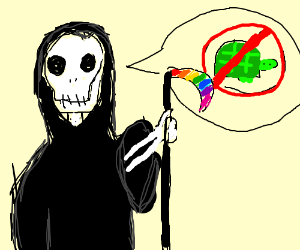 Death with rainbow scythe says no to turtles