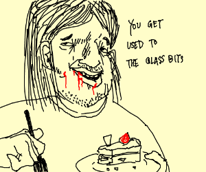long haired man eats glass cake