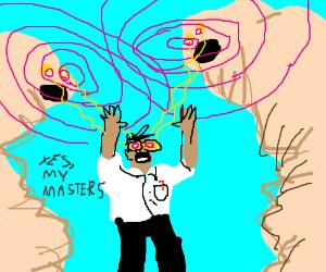 Man hypnotized by giant maggots
