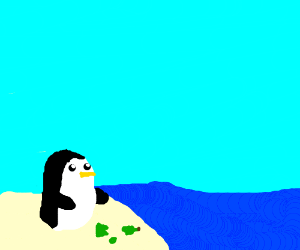 Gunther the penguin on the beach