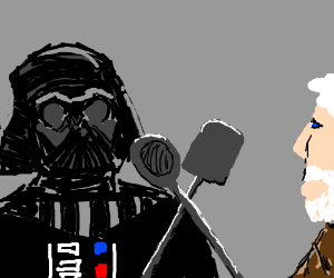 """""""Star Wars"""" with kitchen utensils for sabers."""