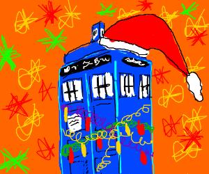 Christmas-themed TARDIS wears a Santa hat.