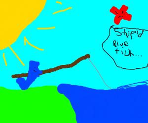 Blue tick gone fishin'