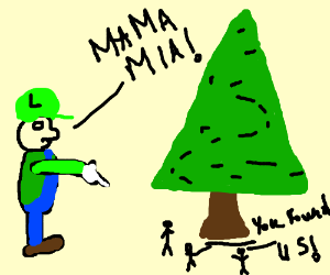 Luigi discovers a tree surrounded by mini ppl