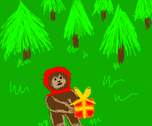 ewok w/ x-mas present in green world