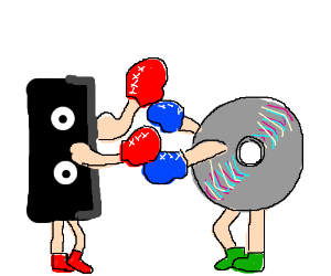 Boxing match between video tape and DVD