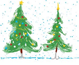 Christmas tree and his girlfriend!