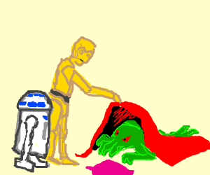 C3PO & R2D2 find Cthulhu hiding under blanket