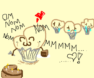 Hangry muffin does not share cake with others