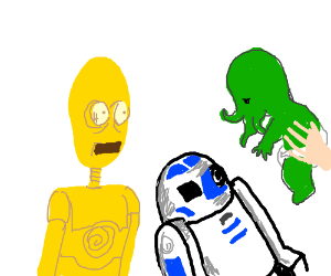 C3PO & R2D2 surprised by new ward, baby Cthulu