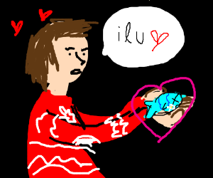 Man with sweater is in love with a dead fish