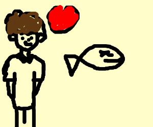 A kid loving his dead fish