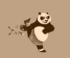 Po the kung fu panda breaks a stick