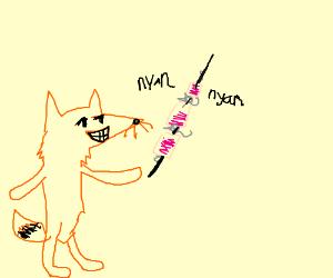Grinning fox making Nyancrumpycatskebab