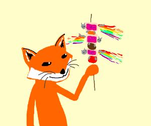 Fox makes Nyan Cats into shish kabob.