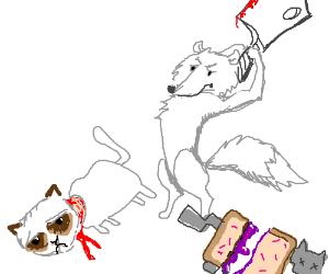 White fox kills meme critters w/ cleaver