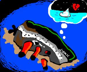 Titanic misses iceberg that broke its heart.