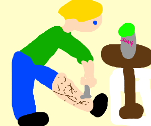 A blonde haired blue-eyed man shaving