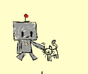 robot petting cat