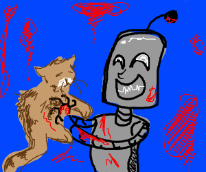 Robot's over-excited with cat ends with blood.