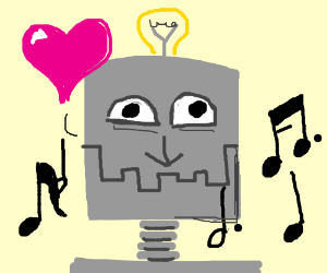 Happy robot loves listening to music.